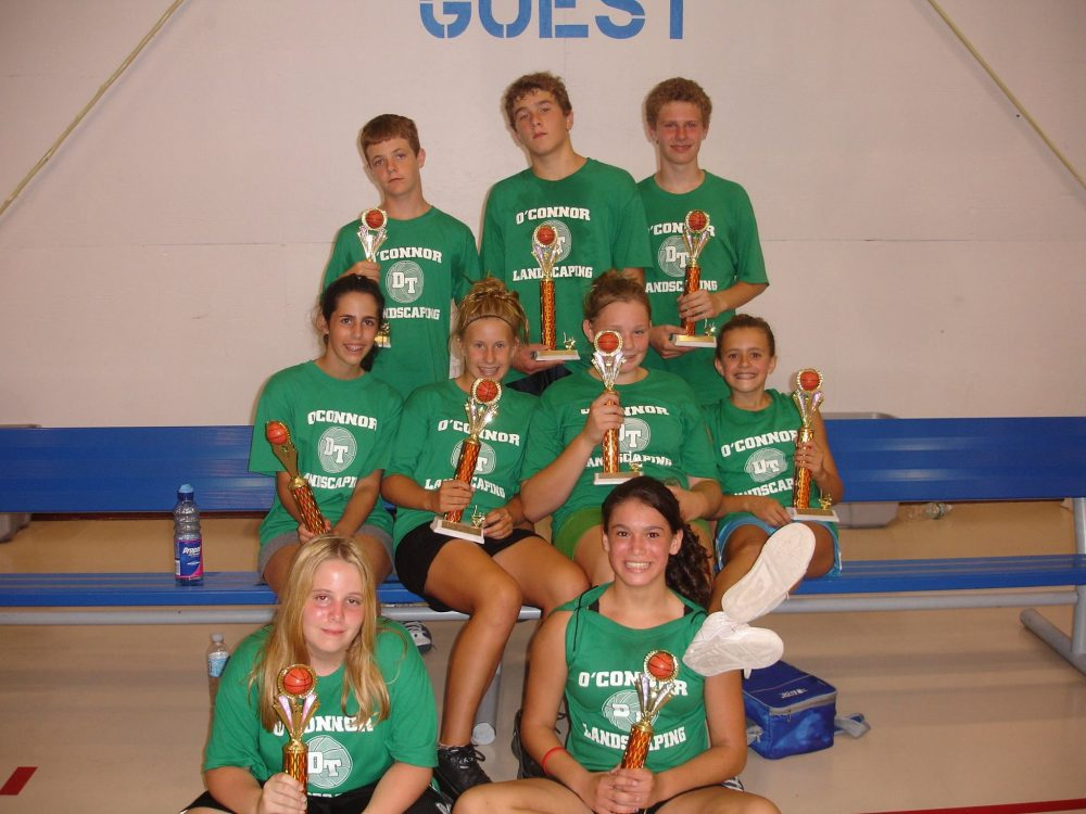 Basketball team with trophies