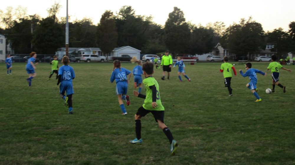 Soccer game on grass field.