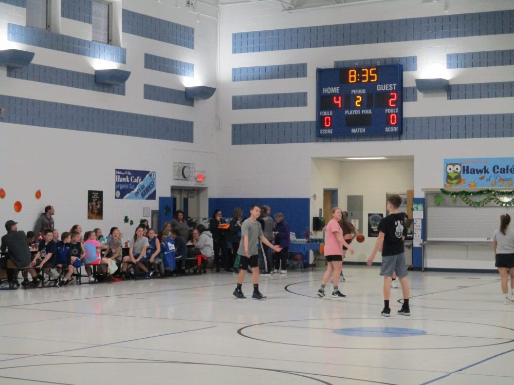 Basketball game with spectators