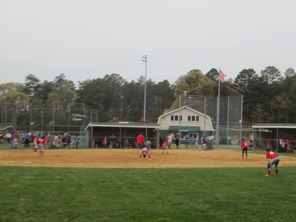 View of baseball diamond and the dugout.